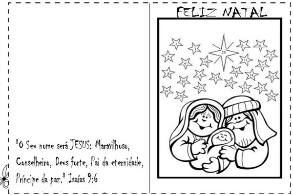 Cartão de natal para imprimir nascimento Jesus