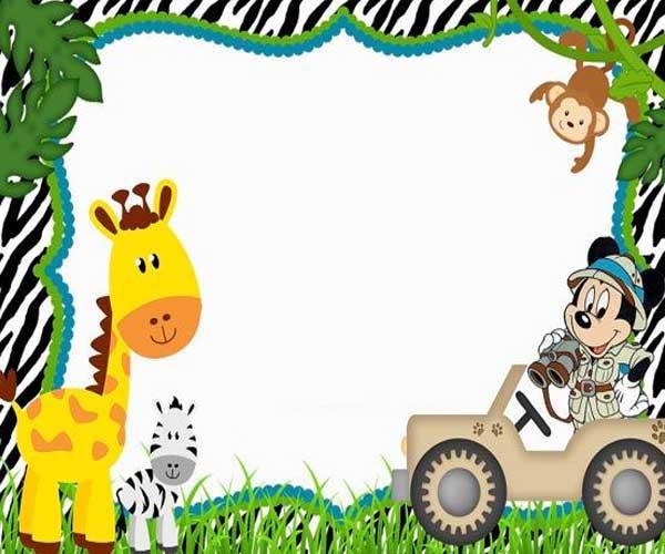 Convite Mickey Safari Infantil