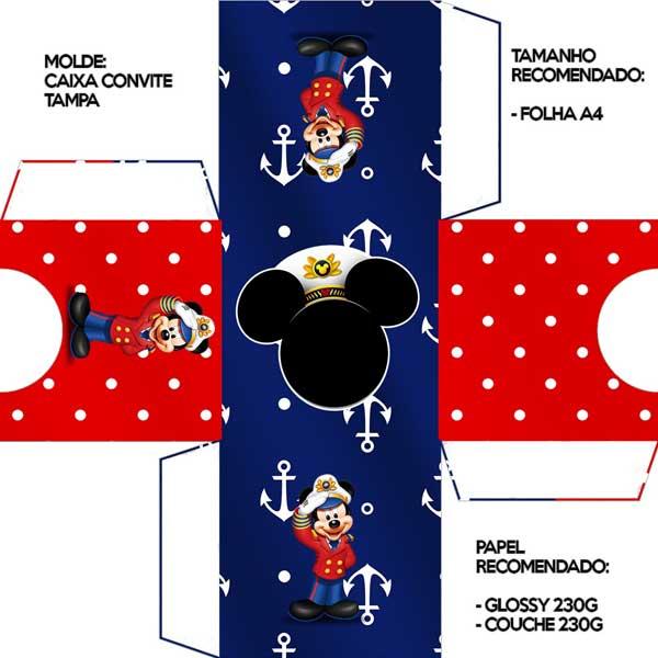 Convite Mickey caixa tampa
