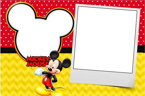 Convite Mickey moldura para foto