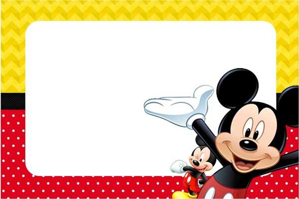 Convite Mickey colorido moldura aniversário
