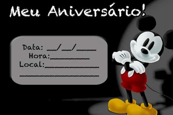 Convite Mickey simples editar