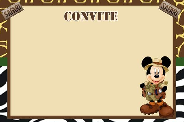 Convite Mickey no Safari