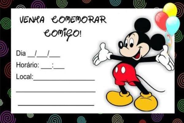 Convite Mickey para editar