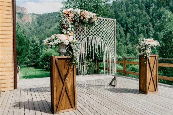decoração de casamento com cortina de macrame