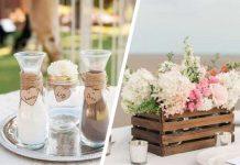 Decoração de mesa feito com juta e pallet para decoração de casamento rústico