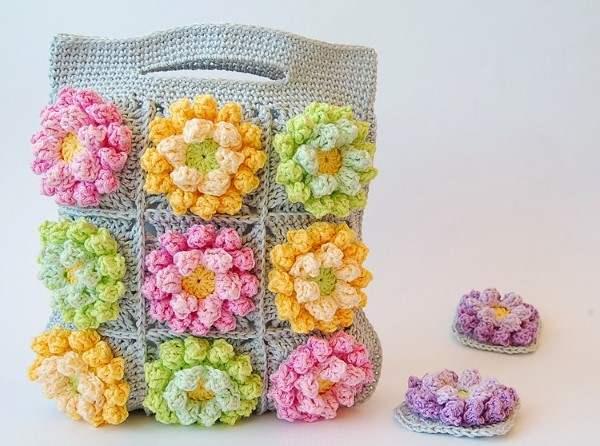bolsa de flor croche