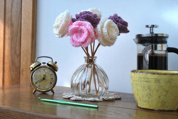 flor de croche para aplique