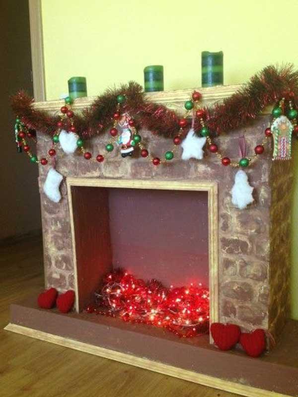 Lareira de isopor decoração natal
