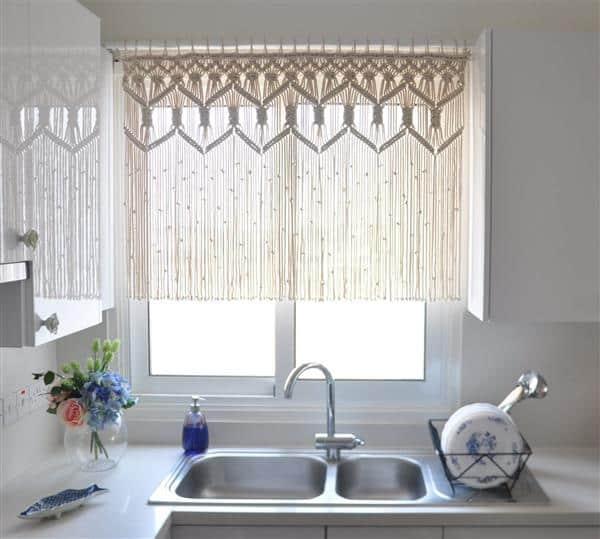 cortina de macrame para janela