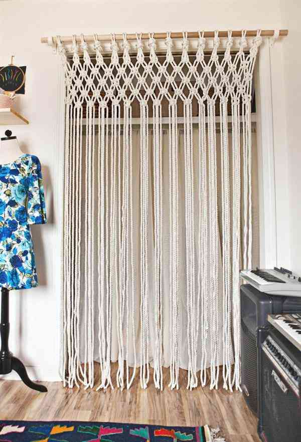 cortina de macrame para porta