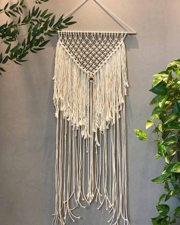 macrame decorando parede