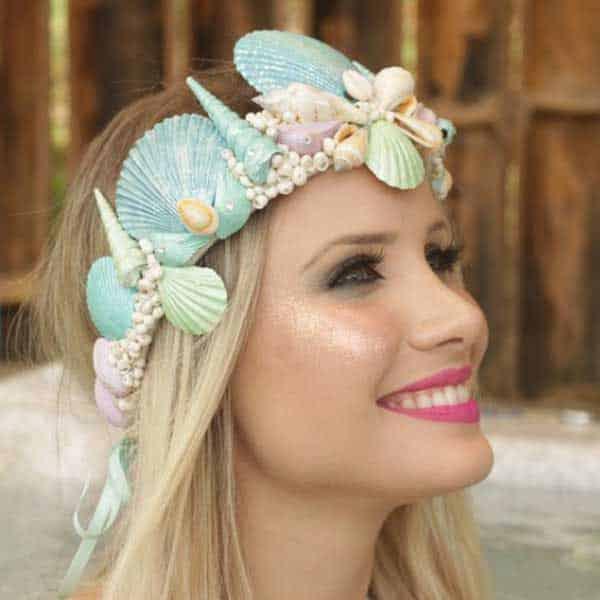 Tiara sereia decoração glitter