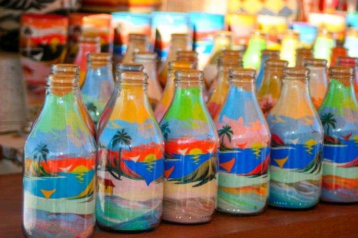 artesanato com areia colorida