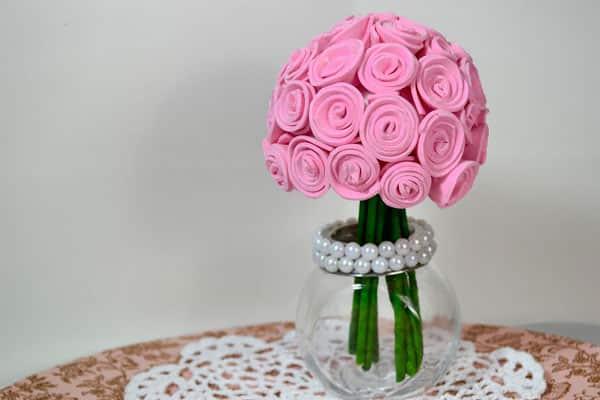 Centro mesa casamento EVA flor rosa