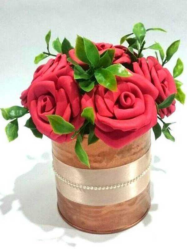 Centro de mesa para casamento flores vermelhas