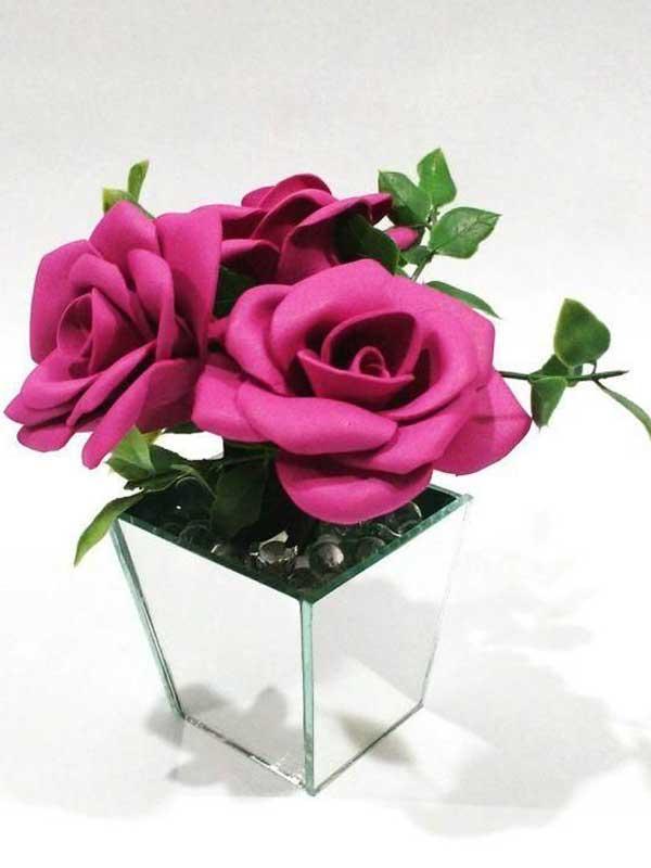 Centro mesa casamento rosa com vaso espelhado