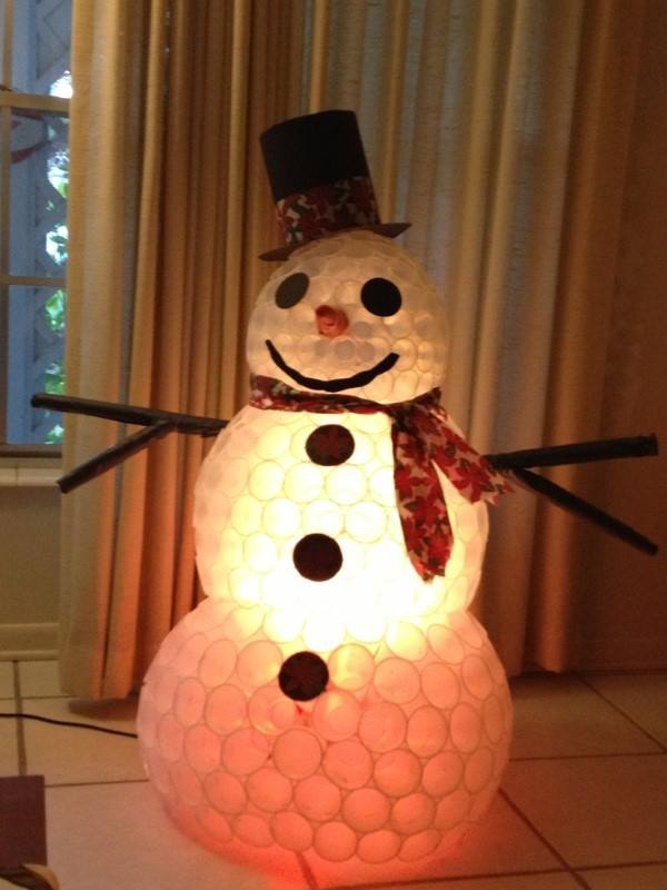 boneco de neve de copos