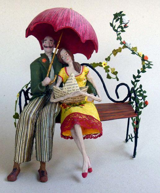 casal de papel machê