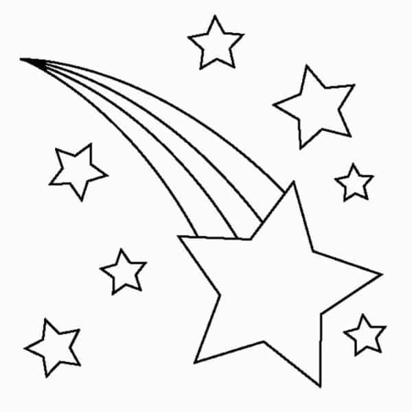 estrela cadente e estrelinhas