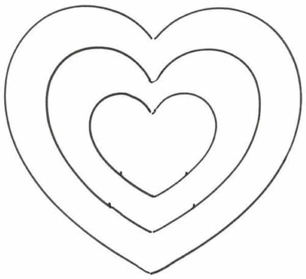 molde de coração imprimir