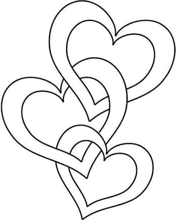 molde de coração para colorir