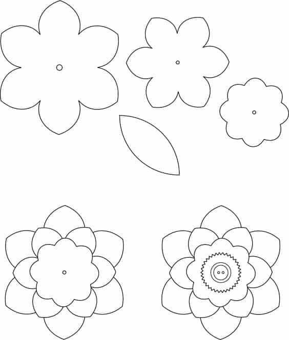 moldes de flores em feltro