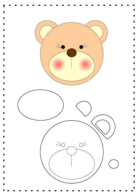 molde de ursinho cabeça