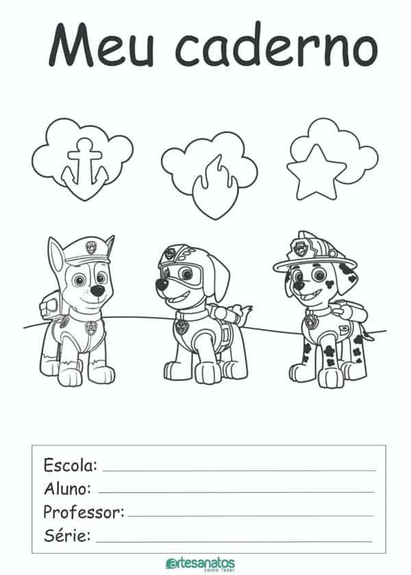 desenhos para capa de caderno patrulha canina