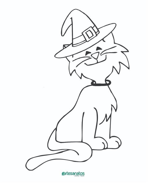 gato para colorir halloween