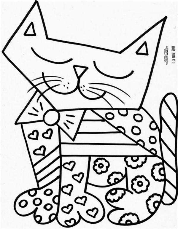 Gato para colorir desenhos para imprimir e pintar - Coloriage fleur britto ...
