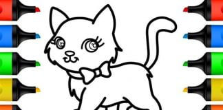 gato para colorir com laço