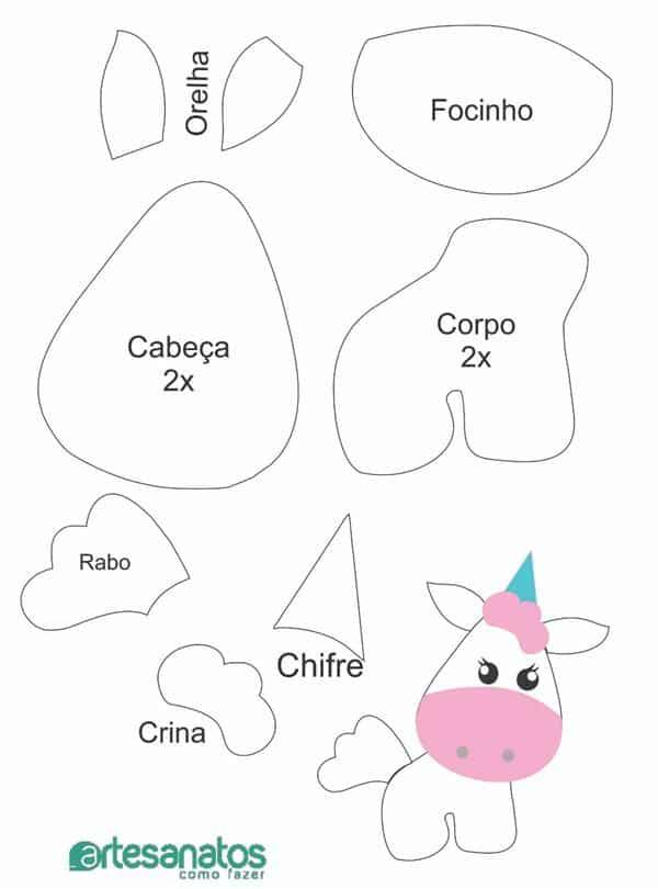 moldes de feltro unicornio