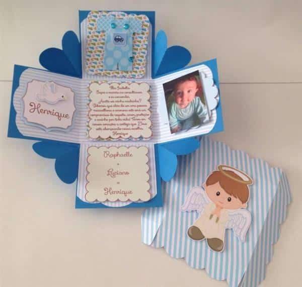 caixa convite padrinhos com anjinho