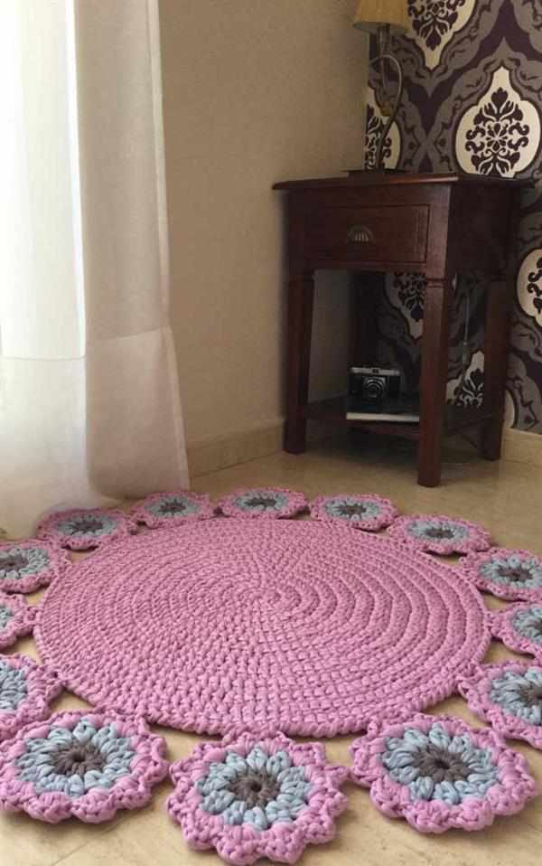 tapete redondo de crochê simples