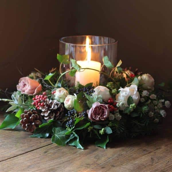 arranjo de natal com flores naturais