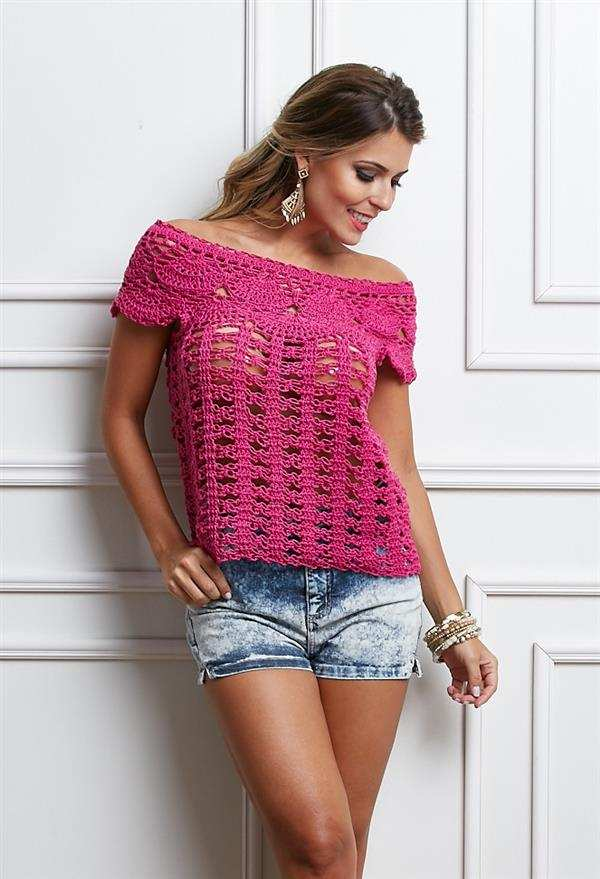 blusa de crochê rosa