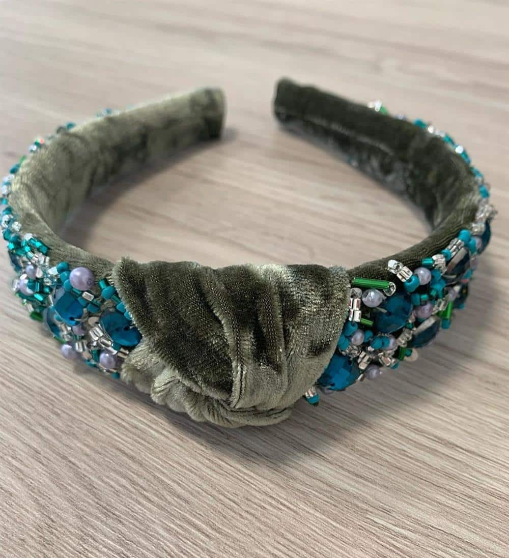 tiara turbante de veludo verde