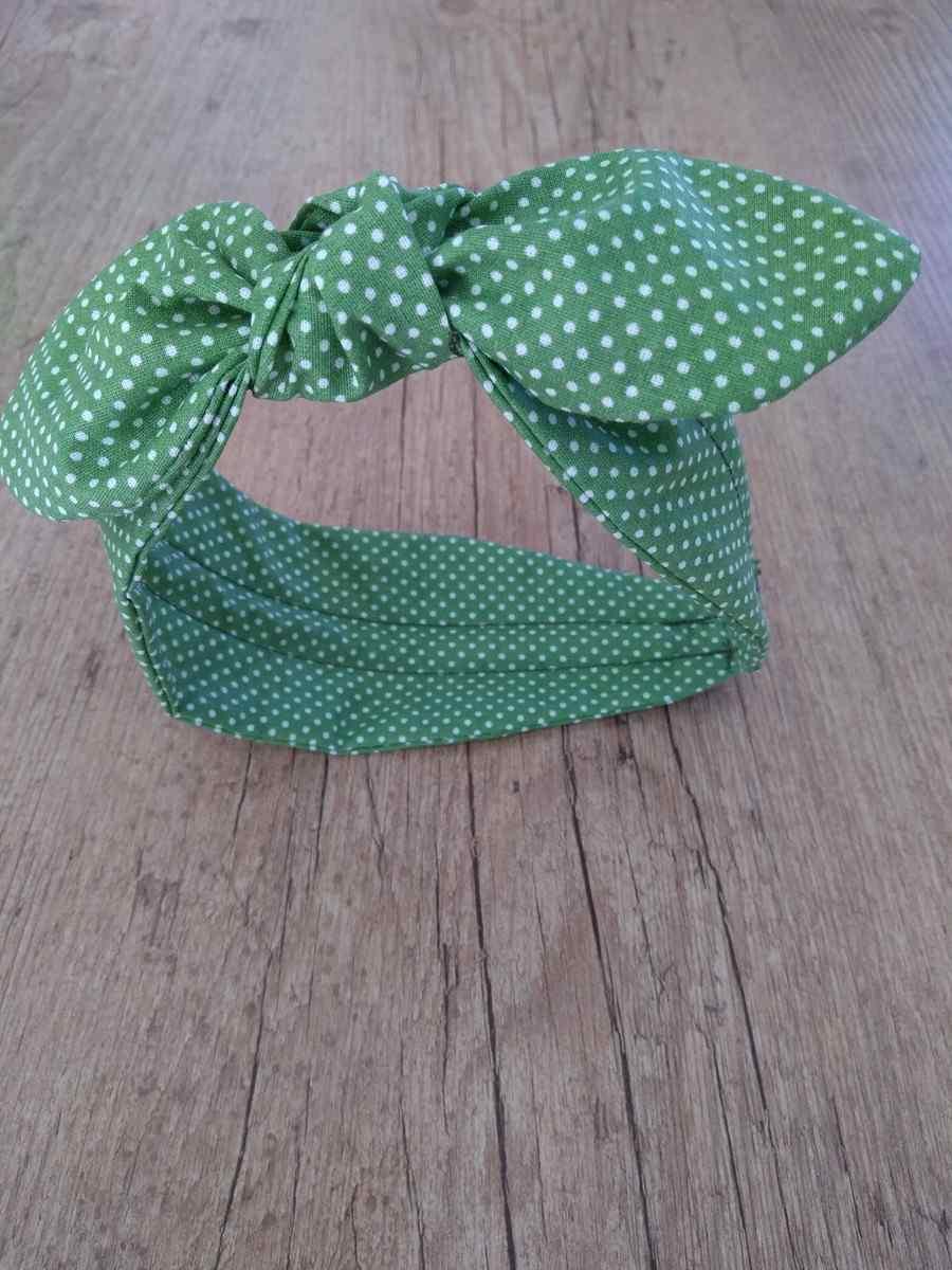 tiara turbante com laço verde