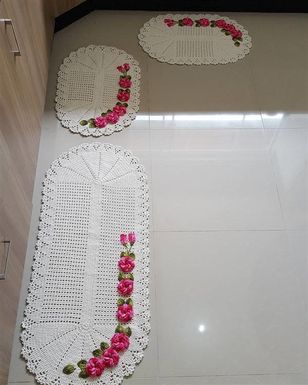 tapete de croche de barbante com flores