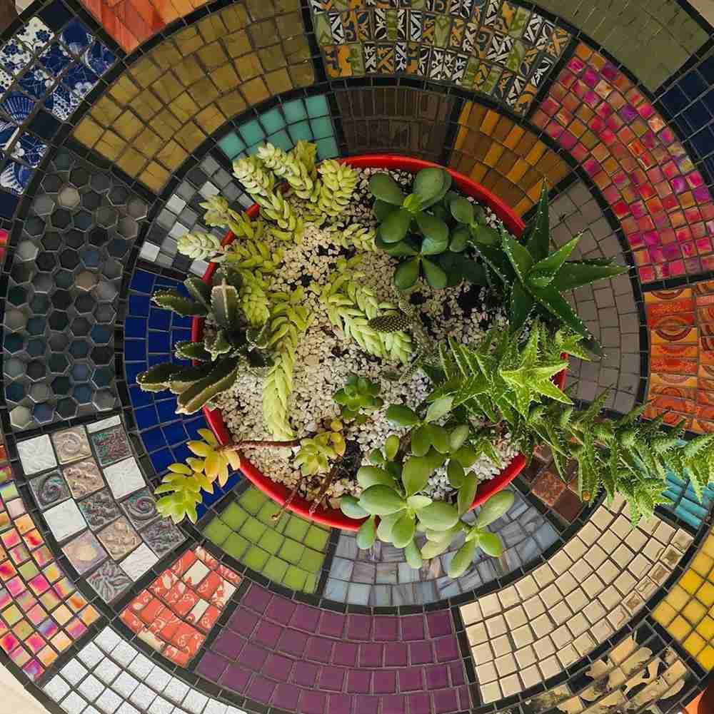 tampo de mesa com mosaico