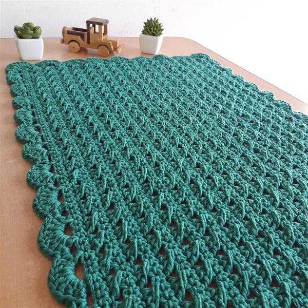 tapete de croche simples verde