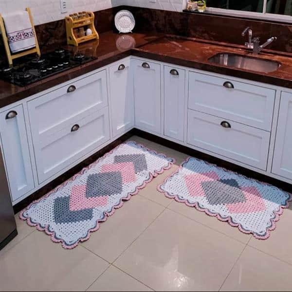 tapete Cronos Branco rosa bebê e cinza