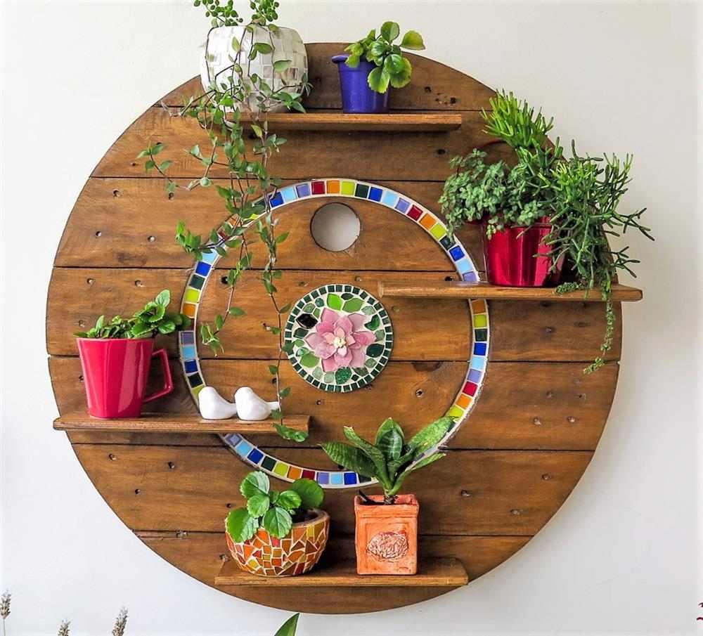 suporte planta madeira