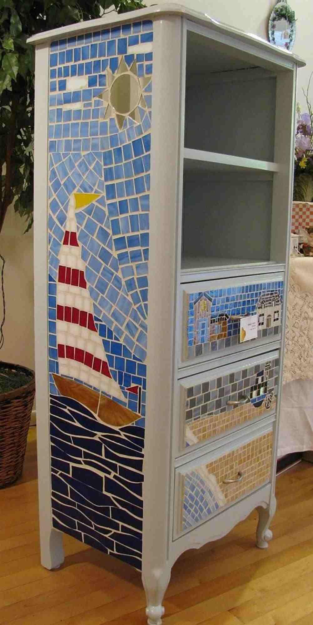 material usado em mosaico moveis