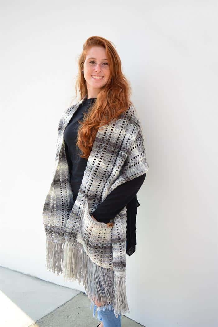 cachecol em croche feminino