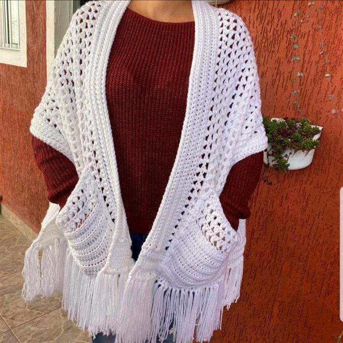 cachecol croche branco