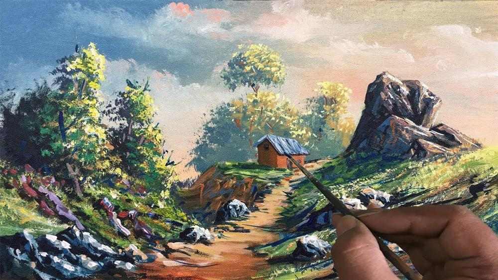 pintura em tela paisagem passo a passo