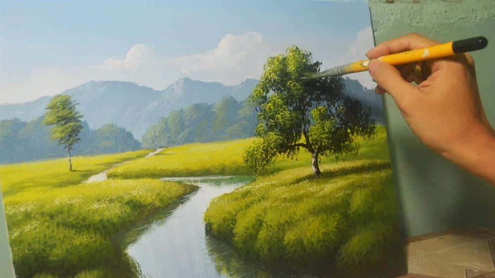 pintura em tela paisagem simples