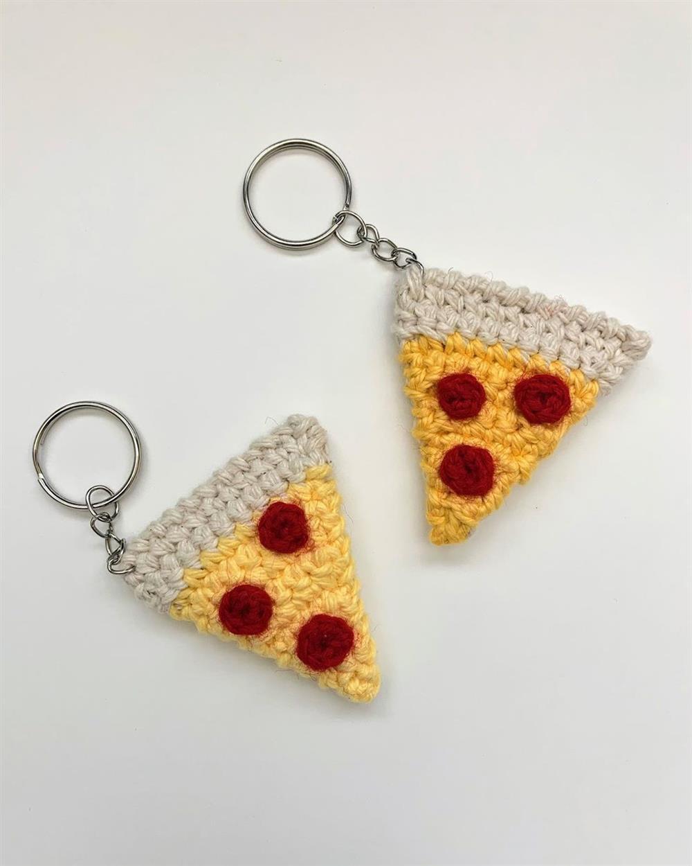mini fatia de pizza de croche
